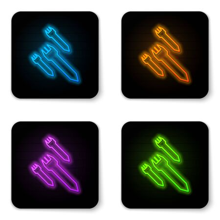 Glowing neon Rocket icon isolated on white background. Black square button. Vector Illustration Illustration
