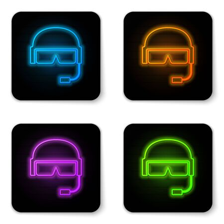 Glowing neon Military helmet icon isolated on white background. Army hat symbol of defense and protect. Protective hat. Black square button. Vector Illustration