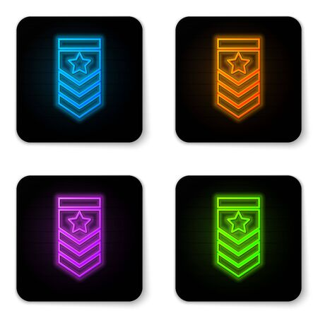 Glowing neon Chevron icon isolated on white background. Military badge sign. Black square button. Vector Illustration