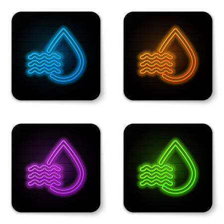 Glowing neon Water drop percentage icon isolated on white background. Humidity analysis. Black square button. Vector Illustration