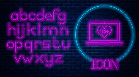 Glowing neon Laptop computer with 18 plus content heart icon isolated on brick wall background. Age restriction symbol. 18 plus content sign. Adult channel. Neon light alphabet. Vector Illustration