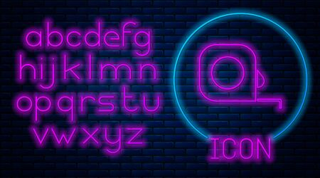 Glowing neon Roulette construction icon isolated on brick wall background. Tape measure symbol. Neon light alphabet. Vector Illustration
