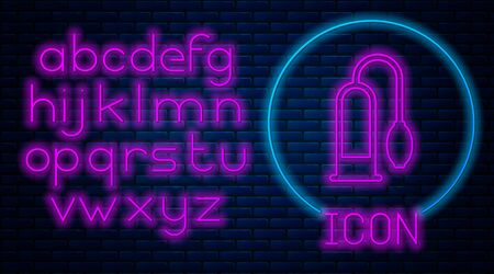 Glowing neon Penis pump icon isolated on brick wall background. Penis enlarger. Sex toy for men. Vacuum pump with a blower to increase the penis. Neon light alphabet. Vector Illustration Çizim