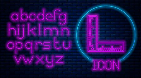 Glowing neon Folding ruler icon isolated on brick wall background. Neon light alphabet. Vector Illustration