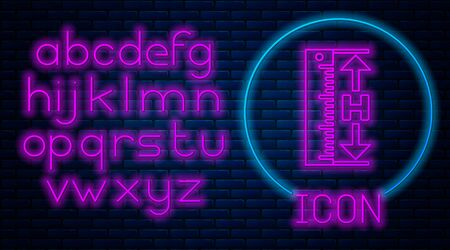 Glowing neon The measuring height and length icon isolated on brick wall background. Ruler, straightedge, scale symbol. Neon light alphabet. Vector Illustration