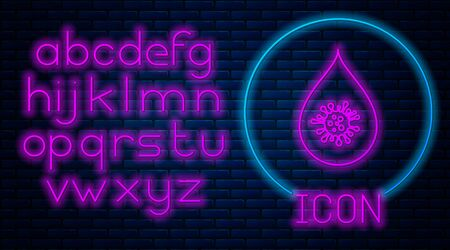 Glowing neon Dirty water drop icon isolated on brick wall background. Bacteria and germs, microorganism disease, cell cancer, microbe, virus, fungi. Neon light alphabet. Vector Illustration  イラスト・ベクター素材
