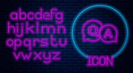 Glowing neon Speech bubbles with Question and Answer icon isolated on brick wall background. Q and A symbol. FAQ sign. Chat speech bubble and chart. Neon light alphabet. Vector Illustration