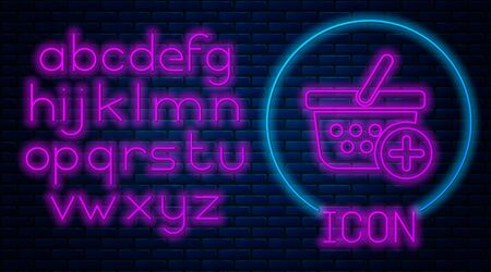 Glowing neon Add to Shopping basket icon isolated on brick wall background. Online buying concept. Delivery service sign. Supermarket basket symbol. Neon light alphabet. Vector Illustration