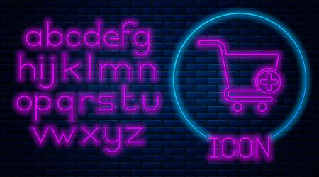 Glowing neon Add to Shopping cart icon isolated on brick wall background. Online buying concept. Delivery service sign. Supermarket basket symbol. Neon light alphabet. Vector Illustration