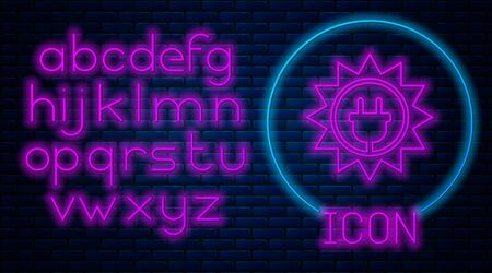 Glowing neon Solar energy panel icon isolated on brick wall background. Sun and electric plug. Neon light alphabet. Vector Illustration  イラスト・ベクター素材