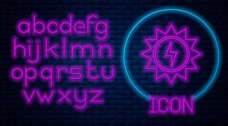 Glowing neon Solar energy panel icon isolated on brick wall background. Sun with lightning symbol. Neon light alphabet. Vector Illustration