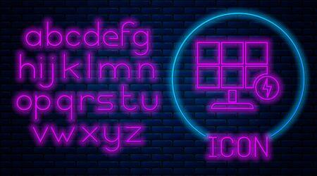 Glowing neon Solar energy panel icon isolated on brick wall background. Neon light alphabet. Vector Illustration