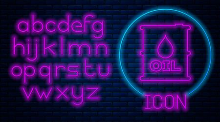Glowing neon Oil barrel icon isolated on brick wall background. Oil drum container. For infographics, fuel, industry, power, ecology. Neon light alphabet. Vector Illustration