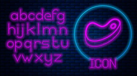 Glowing neon Steak meat icon isolated on brick wall background. Neon light alphabet. Vector Illustration