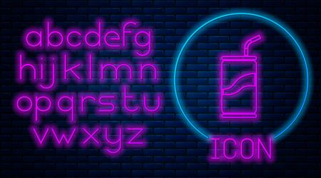 Glowing neon Soda can with drinking straw icon isolated on brick wall background. Neon light alphabet. Vector Illustration