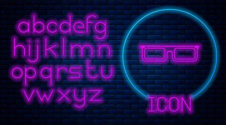 Glowing neon Glasses icon isolated on brick wall background. Eyeglass frame symbol. Neon light alphabet. Vector Illustration