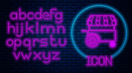 Glowing neon Fast street food cart with awning icon isolated on brick wall background. Urban kiosk. Neon light alphabet. Vector Illustration Stock Illustratie