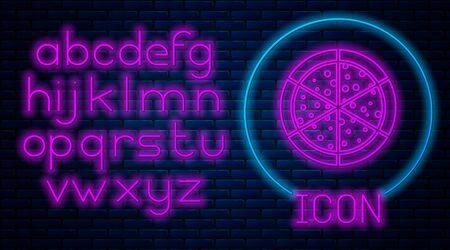 Glowing neon Pizza icon isolated on brick wall background. Neon light alphabet. Vector Illustration Ilustração