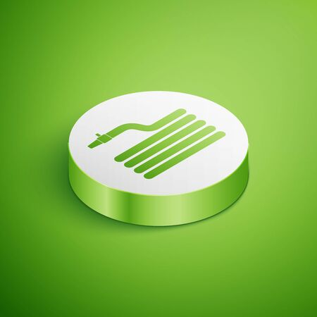 Isometric Garden hose or fire hose icon isolated on green background. Spray gun icon. Watering equipment. White circle button. Vector Illustration