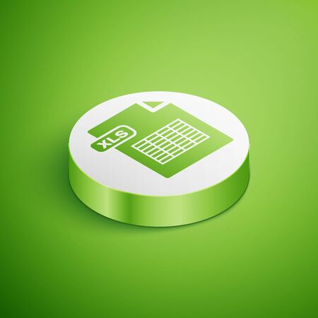 Isometric XLS file document. Download xls button icon isolated on green background. Excel file symbol. White circle button. Vector Illustration Illustration