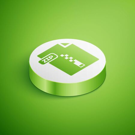 Isometric ZIP file document. Download zip button icon isolated on green background. ZIP file symbol. White circle button. Vector Illustration Stock Illustratie