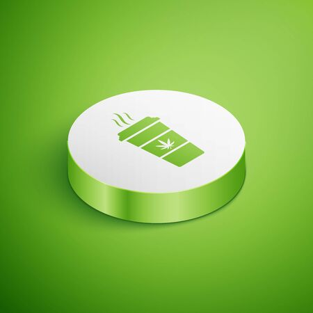 Isometric Cup coffee with marijuana or cannabis leaf icon isolated on green background. Marijuana legalization. Hemp symbol. White circle button. Vector Illustration