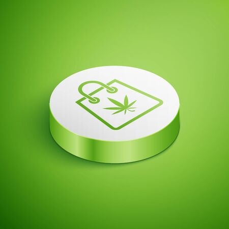 Isometric Shopping paper bag of medical marijuana or cannabis leaf icon isolated on green background. Buying cannabis. Hemp symbol. White circle button. Vector Illustration