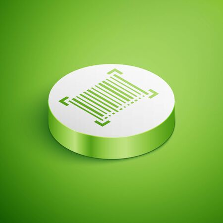Isometric Barcode icon isolated on green background. White circle button. Vector Illustration Çizim