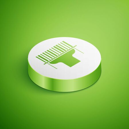 Isometric Scanner scanning bar code icon isolated on green background. Barcode label sticker. Identification for delivery with bars. White circle button. Vector Illustration Çizim