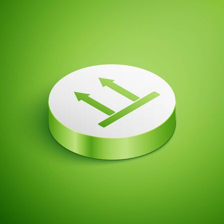 Isometric This side up icon isolated on green background. Two arrows indicating top side of packaging. Cargo handled so these arrows always point up. White circle button. Vector Illustration Ilustracja