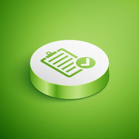 Isometric Verification of delivery list clipboard and pen icon isolated on green background. White circle button. Vector Illustration