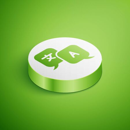 Isometric Translator icon isolated on green background. Foreign language conversation icons in chat speech bubble. Translating concept. White circle button. Vector Illustration Иллюстрация