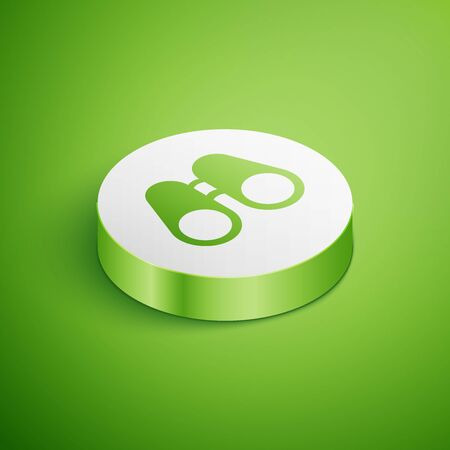 Isometric Binoculars icon isolated on green background. Find software sign. Spy equipment symbol. White circle button. Vector Illustration Ilustracja