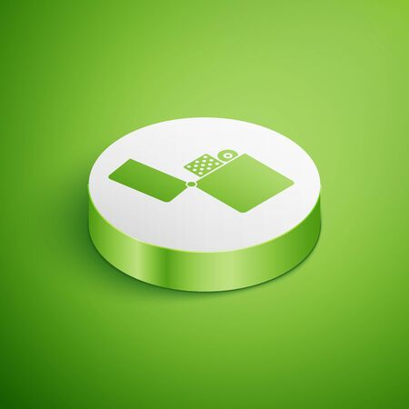 Isometric Lighter icon isolated on green background. White circle button. Vector Illustration Ilustração