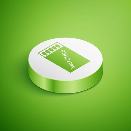 Isometric Open matchbox and matches icon isolated on green background. White circle button. Vector Illustration