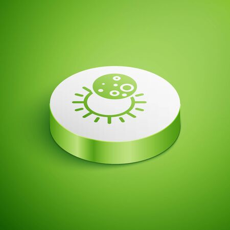 Isometric Eclipse of the sun icon isolated on green background. Total sonar eclipse. White circle button. Vector Illustration Vettoriali