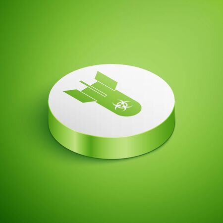 Isometric Biohazard bomb icon isolated on green background. Rocket bomb flies down. White circle button. Vector Illustration