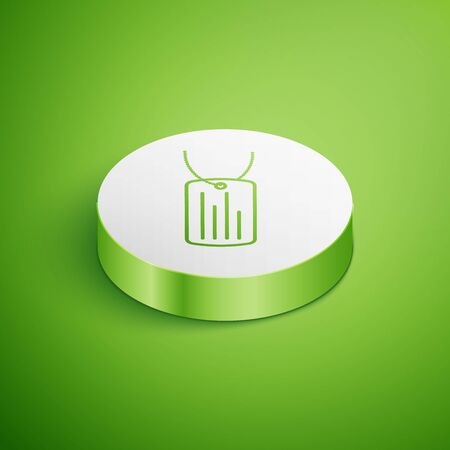Isometric Military dog tag icon isolated on green background. Identity tag icon. Army sign. White circle button. Vector Illustration