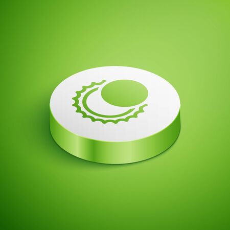 Isometric Eclipse of the sun icon isolated on green background. Total sonar eclipse. White circle button. Vector Illustration 向量圖像
