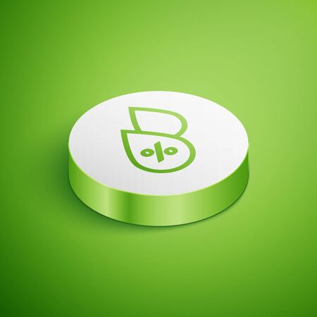 Isometric Water drop percentage icon isolated on green background. Humidity analysis. White circle button. Vector Illustration