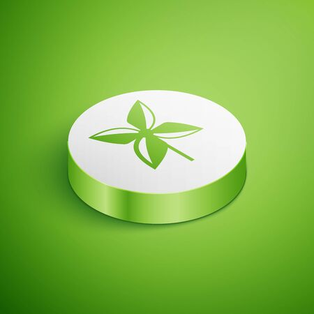 Isometric Pinwheel icon isolated on green background. Windmill toy icon. White circle button. Vector Illustration