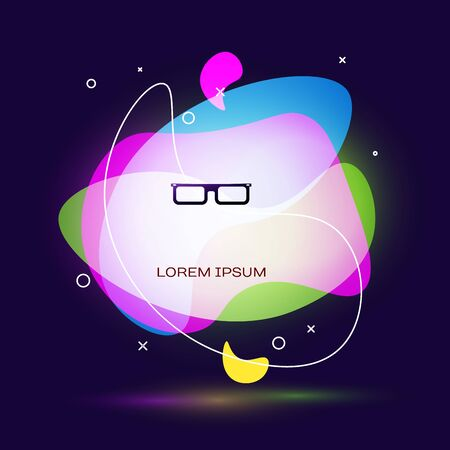 Black Glasses icon isolated on dark blue background. Eyeglass frame symbol. Abstract banner with liquid shapes. Vector Illustration
