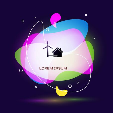 Black House with wind turbine for electric energy generation icon on dark blue background. Eco-friendly house. Environmental Protection. Abstract banner with liquid shapes. Vector Illustration
