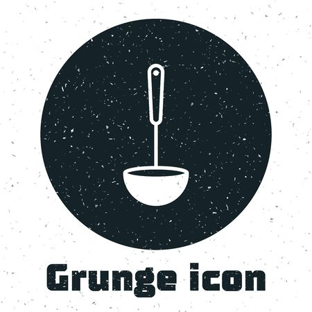 Grunge Kitchen ladle icon isolated on white background. Cooking utensil. Cutlery spoon sign. Vector Illustration