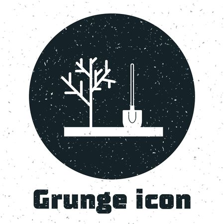 Grunge Planting a tree in the ground icon isolated on white background. Gardening, agriculture, caring for environment. Vector Illustration