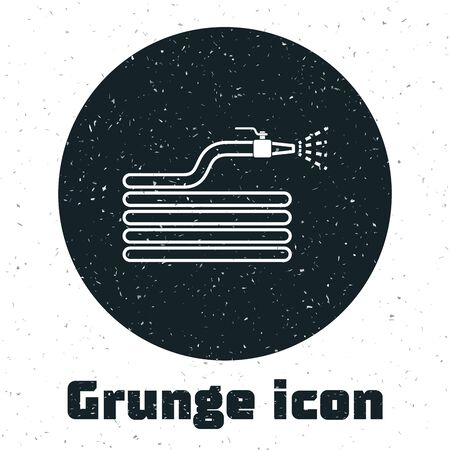 Grunge Garden hose or fire hose icon isolated on white background. Spray gun icon. Watering equipment. Vector Illustration Ilustrace