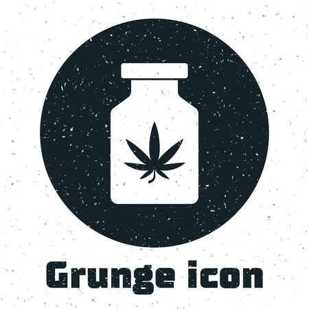Grunge Medical bottle with marijuana or cannabis leaf icon isolated on white background. Mock up of cannabis oil extracts in jars. Vector Illustration Stockfoto - 130986362