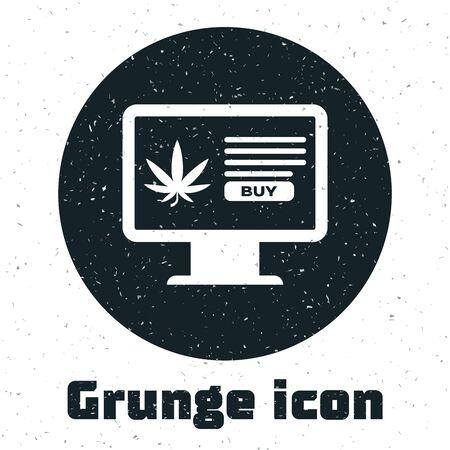 Grunge Computer monitor and medical marijuana or cannabis leaf icon isolated on white background. Online buying symbol. Supermarket basket. Vector Illustration