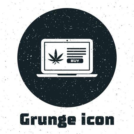 Grunge Laptop and medical marijuana or cannabis leaf icon isolated on white background. Online buying symbol. Supermarket basket. Vector Illustration