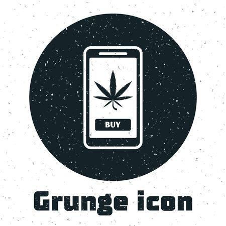 Grunge Mobile phone and medical marijuana or cannabis leaf icon isolated on white background. Online buying symbol. Supermarket basket. Vector Illustration